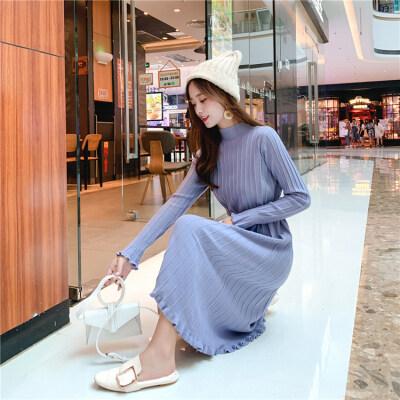 实拍慵懒风显瘦韩版新款女装针织衫连衣裙休闲气质知性优雅内搭