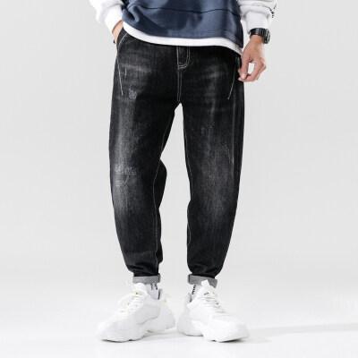 秋季新款潮牌牛仔裤男宽松大码小脚长裤子刺绣潮流黑色弹力哈伦裤