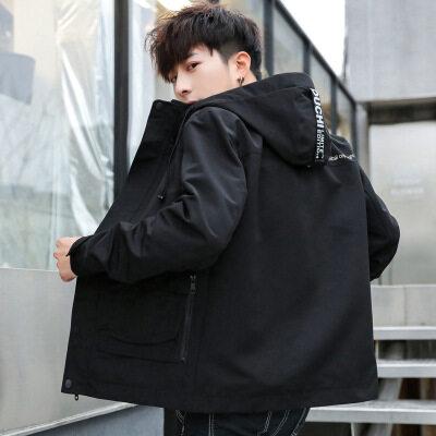 港风外套男2019秋季新款潮流男装夹克修身帅气青年工装短款茄克衫