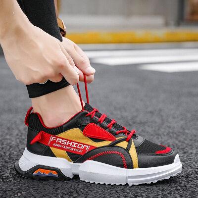 新款男士秋冬时装周走秀款运动鞋防滑耐磨潮鞋韩版拼色潮流老爹鞋