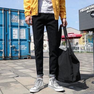 秋冬款男士韩版牛仔裤男裤修身直筒休闲裤男长裤子宽松小脚男休闲