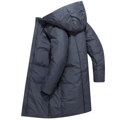2019冬季新款羽绒服修身帅气男装连帽长款加厚休闲保暖外套