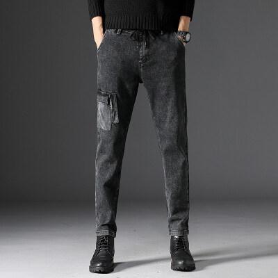 秋冬季新款牛仔裤男韩版潮流黑灰色多袋弹力小脚裤青少年时尚长裤