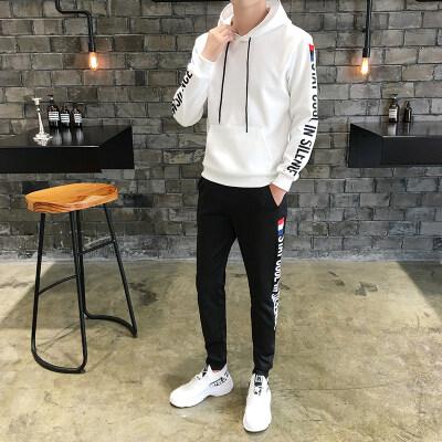 秋季男士卫衣套装青少年学生韩版潮流连帽休闲套装两件套运动服