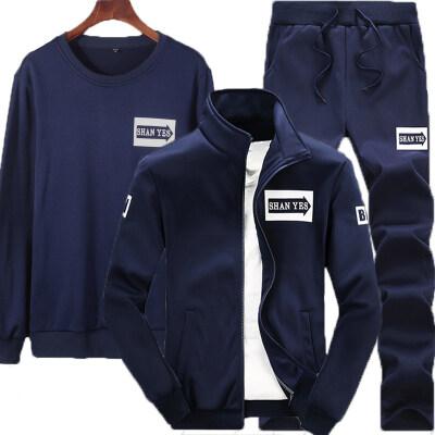 D75运动套装男2019新款外套箭头套装休闲裤卫衣三件套