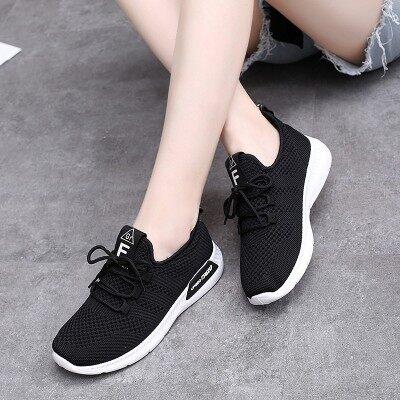 夏季新款黑色运动鞋女韩版百搭学生跑步鞋透气旅游鞋休闲秋季女鞋