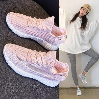 飞织女鞋2019新款夏季网面透气粉色椰子网鞋百搭健身房跑步运动鞋