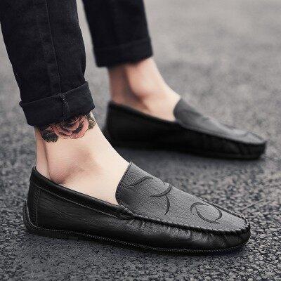 夏季透气社会豆豆鞋2019春款韩版男鞋子潮流皮鞋夏款一脚蹬懒人鞋