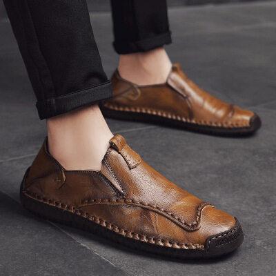 秋季新款大码手工缝线休闲男鞋套脚休闲豆豆鞋男士懒人鞋大码男鞋