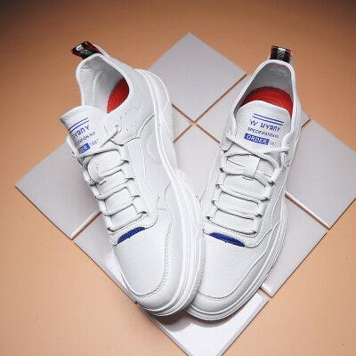 一件代发2019秋冬季新款高帮潮鞋男真皮板鞋子韩版休闲鞋白色皮鞋