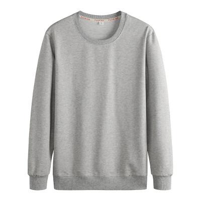 跨境男装套头圆领卫衣运动春秋款长袖空白版压标贴牌卫衣男纯棉