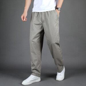 秋季男士纯棉水洗松紧裤加大码肥佬裤6XL无弹魔术贴工装裤长裤
