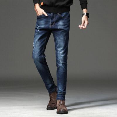 710新款牛仔裤男修身小直筒长裤个性小脚裤