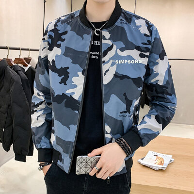 外套男士2020新款韩版潮流春秋季休闲百搭迷彩工装服夹克潮牌