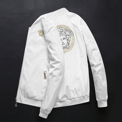 秋季男士白色夹克外套2019潮牌美杜莎刺绣夹克衫立领棒球服男