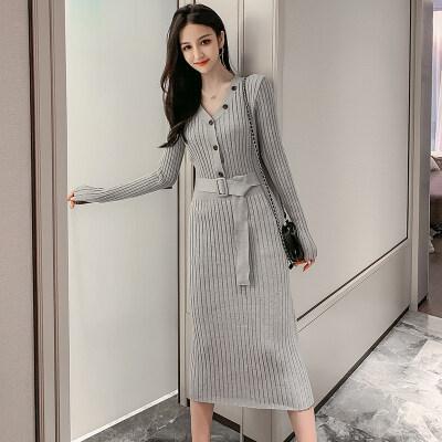 2019秋装韩版法式少女喇叭袖娃娃领牛油果绿长袖针织连衣裙女