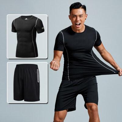 跑步运动套装男健身短袖短裤晨跑速干衣夏天两件套宽松夏季服装薄