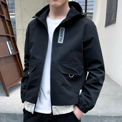 外套男春秋季新款男士夹克韩版潮流连帽修身学生时尚休闲帅气外衣