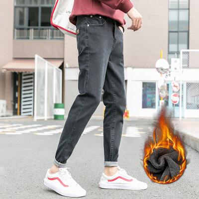 男士牛仔裤2019新款秋冬季冬穿加绒加厚潮牌外穿修身小脚男裤