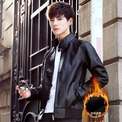 皮衣男加绒2019冬季新款男士韩版修身立领仿皮上衣PU皮外套