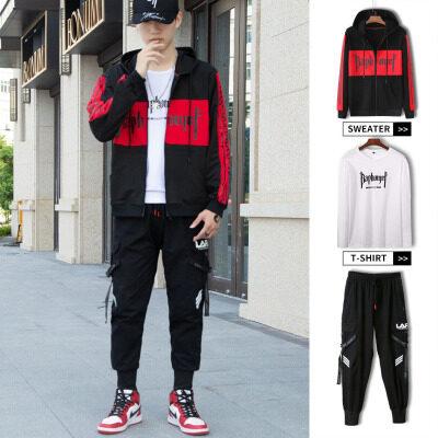 三件套外男秋季新款韩版修身潮流休闲帅气三件套搭配男士工装套装