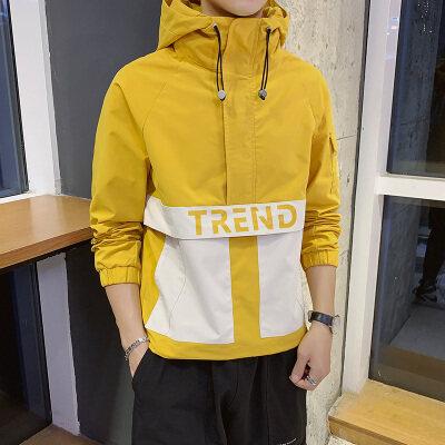 夹克男士外套春季2020新款韩版潮流帅气时尚连帽撞色拼接潮服