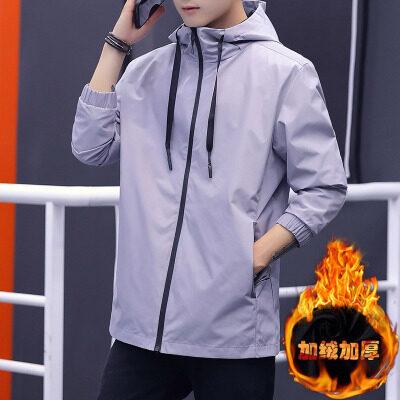 2019秋冬加绒外套秋季夹克男装休闲韩版青年潮流帅气上衣
