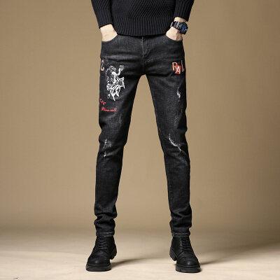 牛仔裤男秋季新款黑色印花破洞弹力修身小脚裤韩版潮流青少年长裤