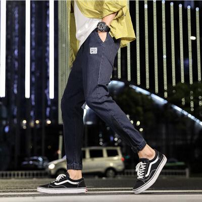 2019秋冬新款港风牛仔裤宽松休闲直筒裤男士潮流阔腿九分裤子