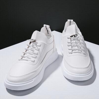 一件代发2019秋季小白鞋男韩版百搭潮流网红男鞋鞋子潮鞋皮面白鞋