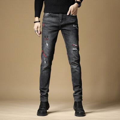 牛仔裤男韩版修身刺绣破洞黑色弹力小脚裤青少年时尚百搭裤子男潮