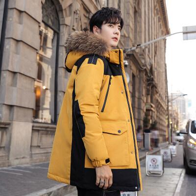 2019冬季新款羽绒服男士中长款韩版加厚青年毛领连帽休闲外套