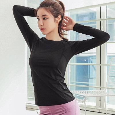 秋季瑜伽长袖t恤女装修身透气跑步运动上衣健身衣跑步速干训练衣