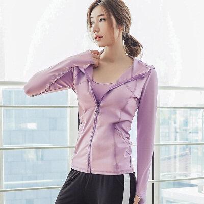 网红显瘦运动外套女速干透气拉链跑步长袖修身健身夹克瑜伽服上衣