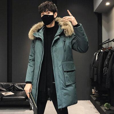 2019新款冬装羽绒服男中长款加厚保暖潮牌情侣款毛领连帽外套