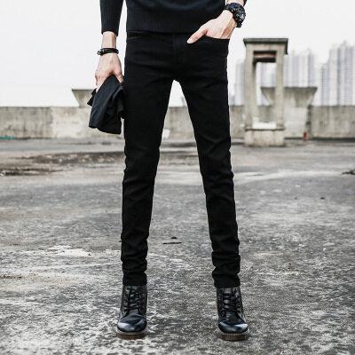 一件代发 男士牛仔裤冬季黑色修身裤子男韩版百搭牛仔长裤