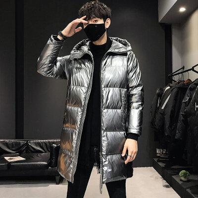 2020新款潮牌时尚帅气连帽外套男士冬季羽绒服中长款保暖大衣