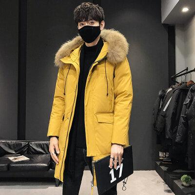 2020新款冬季羽绒服男中长款潮流情侣装连帽外套毛领保暖大衣