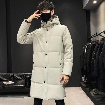 羽绒服男中长款时尚宽松潮牌连帽外套冬季新款青年加厚保暖大衣潮