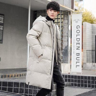2020冬季新款羽绒服男中长款时尚连帽外套情侣款保暖防寒大衣