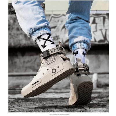 男鞋2019秋季新品高帮板鞋男韩版潮流休闲鞋男帆布鞋男学生户