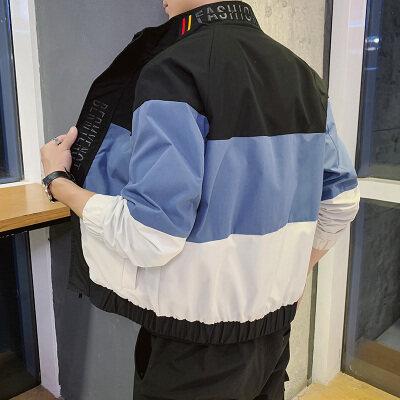 夹克男士外套2020新款韩版潮流帅气时尚连帽撞色拼接潮服