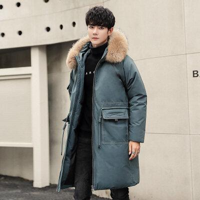 2020新款时尚大毛领连帽外套男士羽绒服中长款防寒保暖大衣潮