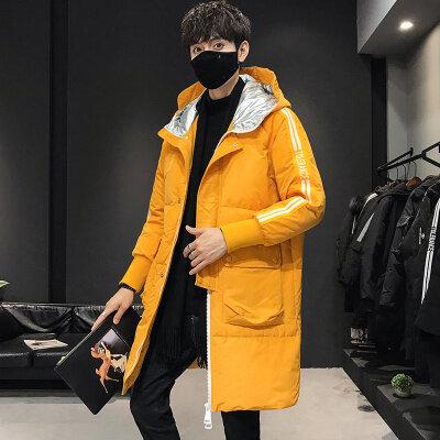 2020新款冬季羽绒服男中长款潮牌时尚连帽外套白鸭绒保暖大衣