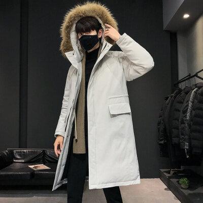 2019新款冬季羽绒服男长款过膝连帽外套情侣款加厚防寒大衣潮