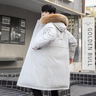 冬装2020新款羽绒服男长款潮牌宽松连帽外套情侣加厚防寒大衣