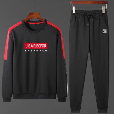 卫衣套装男两件套2019秋冬新款字母印花撞色男士韩版修身长袖