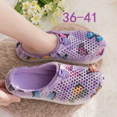 满足【161-16】大蝴蝶花纹洞洞鞋棉拖鞋女鞋36-41批1