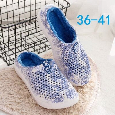 满足【161-17】青花瓷花纹洞洞鞋棉拖鞋女鞋36-41批1