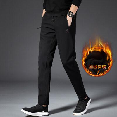 秋季休闲裤修身韩版直筒黑色弹力运动男士加厚青年加绒秋冬裤子男